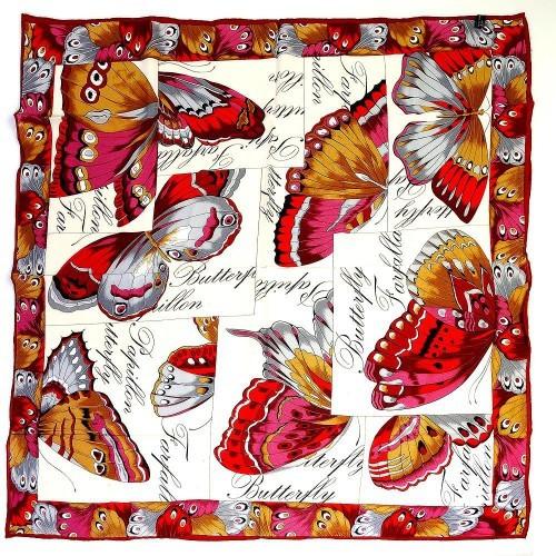 Платок белый «Бабочки»