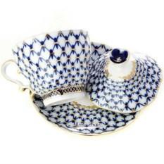Фарфоровая чашка с крышечкой и блюдцем Кобальтовая сетка