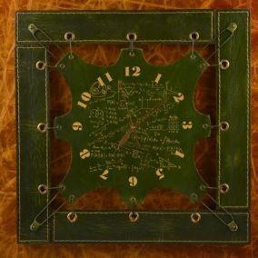 Часы из кожи Химия, зеленые