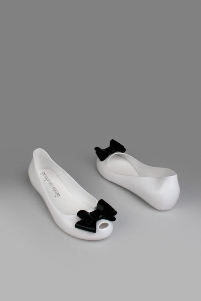 Резиновые балетки Свитли 1, бело-черные