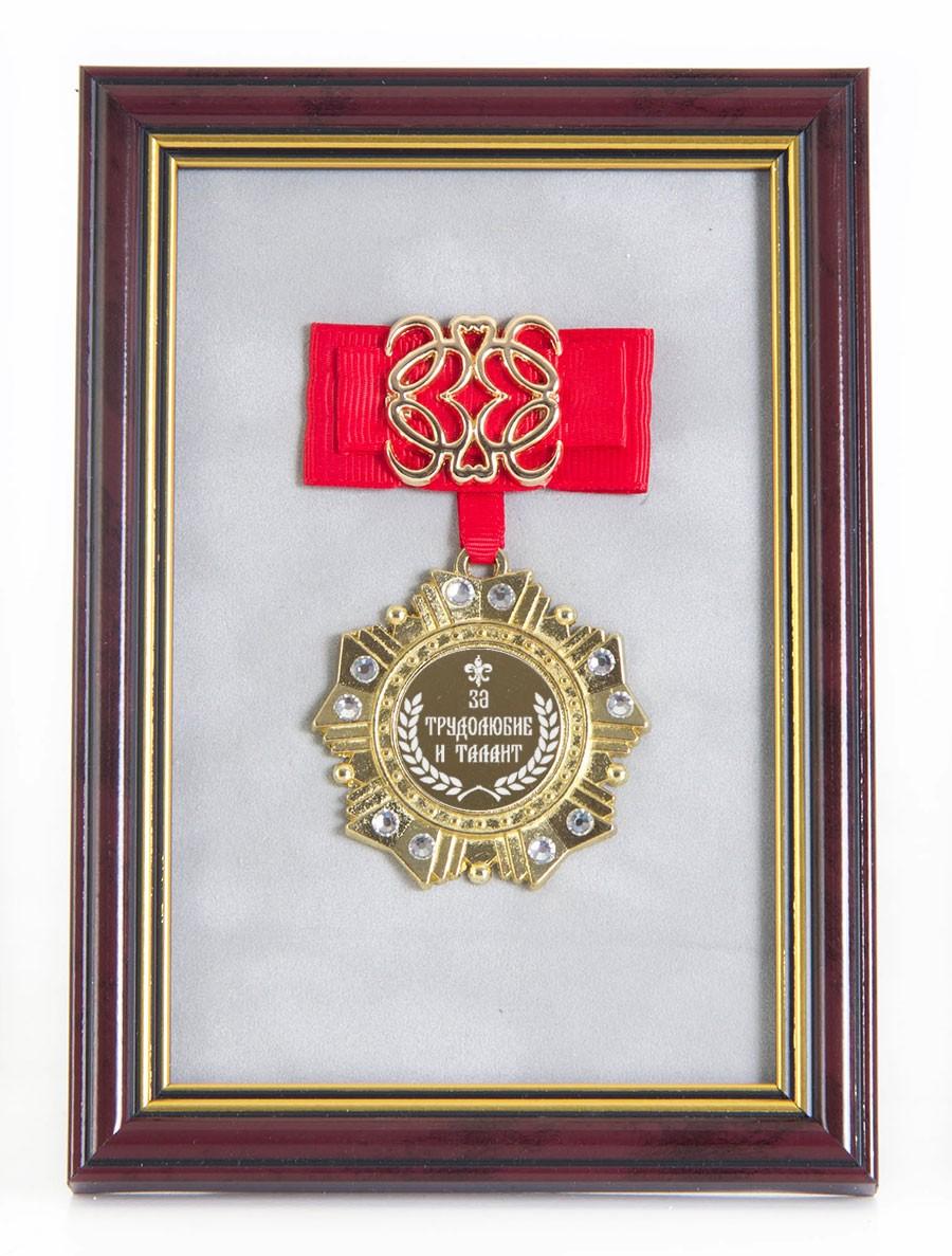 Орден в багете За трудолюбие и талант! (красный бант)