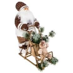 Новогоднее украшение Дед Мороз на санках с мишкой