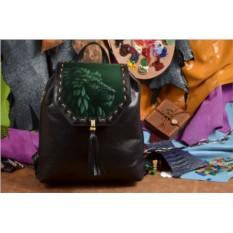 Женский кожаный рюкзак ручной работы Травяной лев