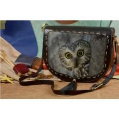 Женская кожаная сумка-седло Удивленная сова