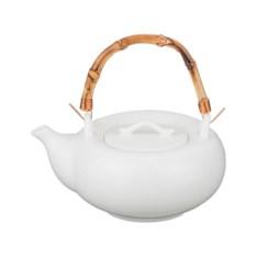 Белый заварочный чайник с золотистой ручкой, объем 750 мл