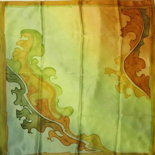 Платок  из натурального шёлка Лист