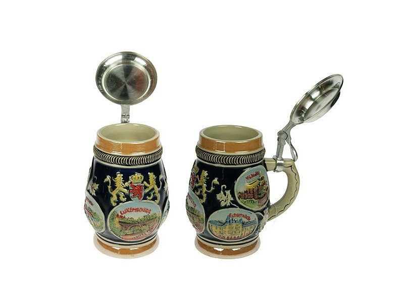 Коллекционная пивная кружка Люксембург, с крышкой