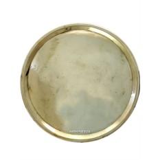 Круглый антикварный поднос для самовара из латуни