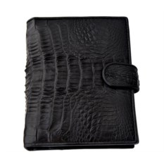 Черное портмоне c отделами для документов из каймана