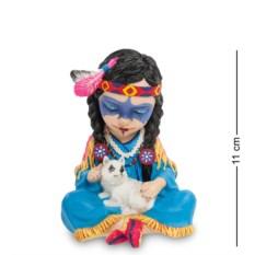 Статуэтка в стиле фэнтези Индейская девочка с волчонком