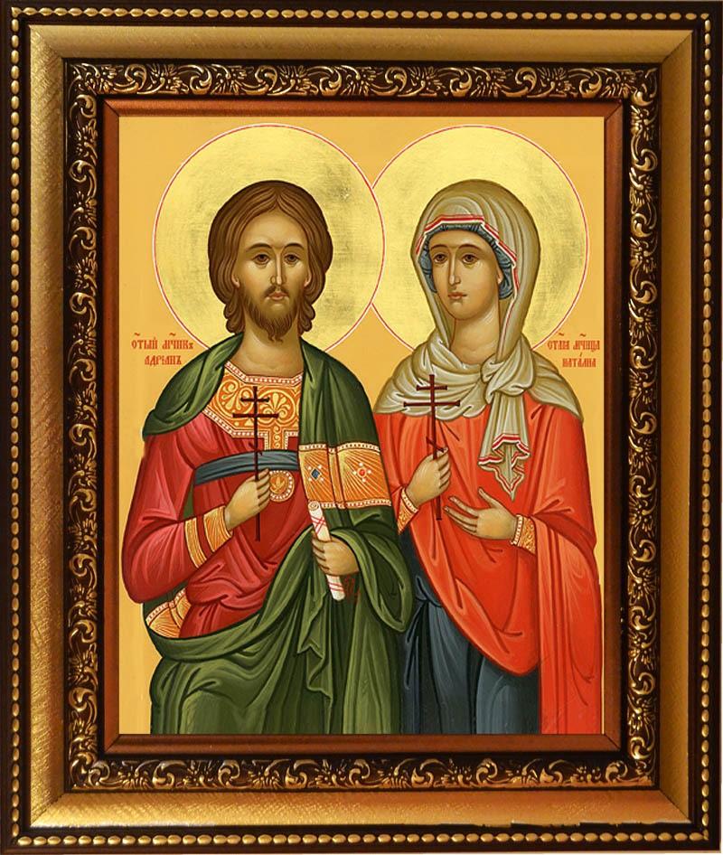 Икона на холсте Адриан и Наталия Никомидийские