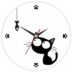 Часы Котенок с рыбкой