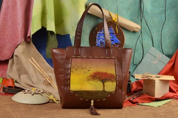 Коричневая сумка-шопер Теплый осенний пейзаж Elole Design