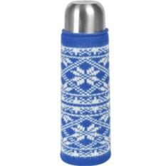 Синий вязаный чехол на бутылку или термос Зимний орнамент