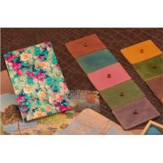 Кожаная обложка для паспорта / автодокументов Поле цветов
