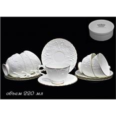 Фарфоровый чайный набор 12 предметов Белая роза