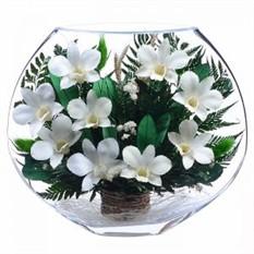 Цветы в стекле. Композиция из натуральных орхидей