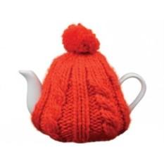 Чайник на 750 мл в красной вязаной шапочке