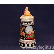 Пивная кружка с крышкой Рождество