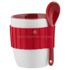 Красная кружка с силиконовым поясом и ложкой (цвет: красный)
