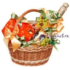 Зеленая подарочная корзина Весенний комплимент