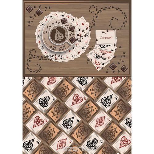 Рисовая бумага для декупажа Кофейные карты, 28,2 см х 38,4 см