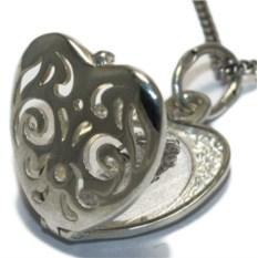 Серебряный открывающийся медальон Сердце с орнаментом