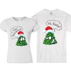 Парные новогодние футболки Hi, babe