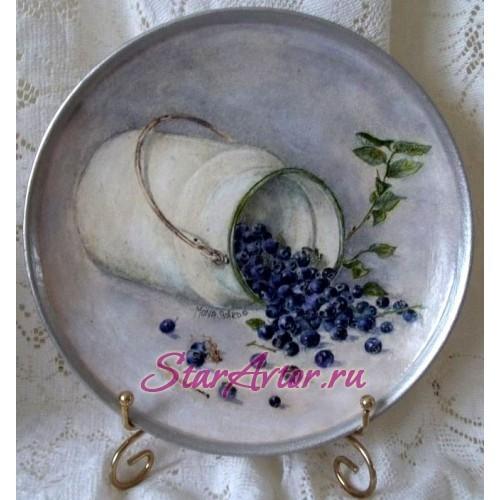 Авторская интерьерная тарелка ручной работы Синь голубики
