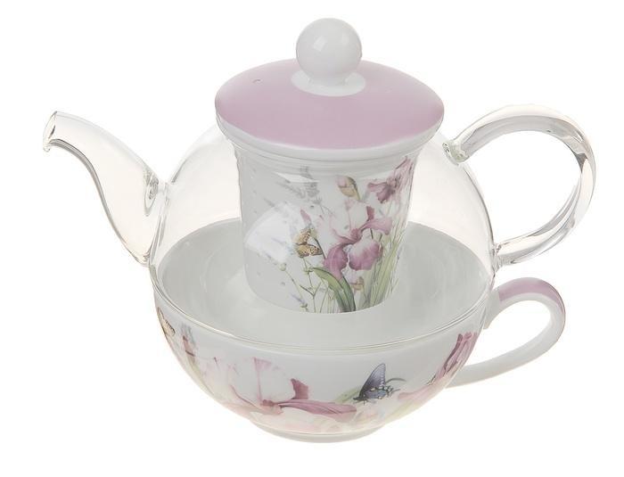 Заварочный стеклянный чайник Орхидея