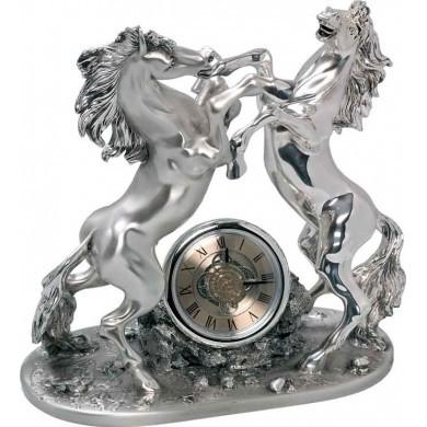Часы из мрамора и серебра Кони