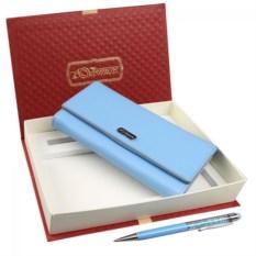 Подарочный женский набор из голубого кошелька и ручки