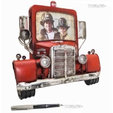 Металлическая фоторамка Пожарная машина