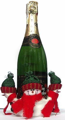 Украшение для бутылки Снеговички с бубенчиками