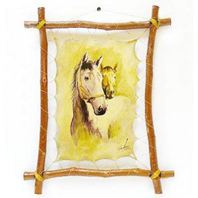 Картина на коже «Две лошади»