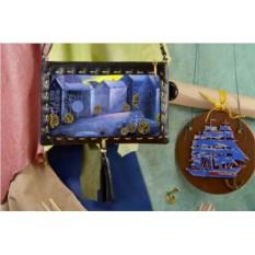 Клатч с принтом Синий Городок