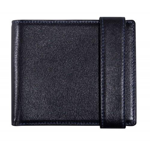 Черное портмоне с синей прошивкой Rich