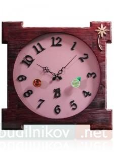 Настенные деревянные часы, розовые с цветком