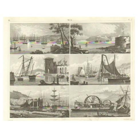 Гравюра «Морское дело: корабли в гавани»