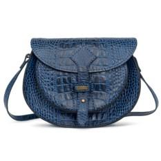 Синяя женская сумочка с художественным тиснением