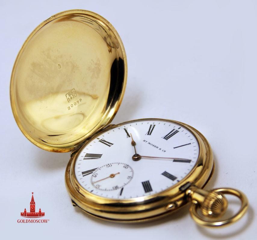Золотые карманные часы «Генри Мозер»