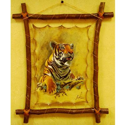 Картина на коже «Тигр на охоте»