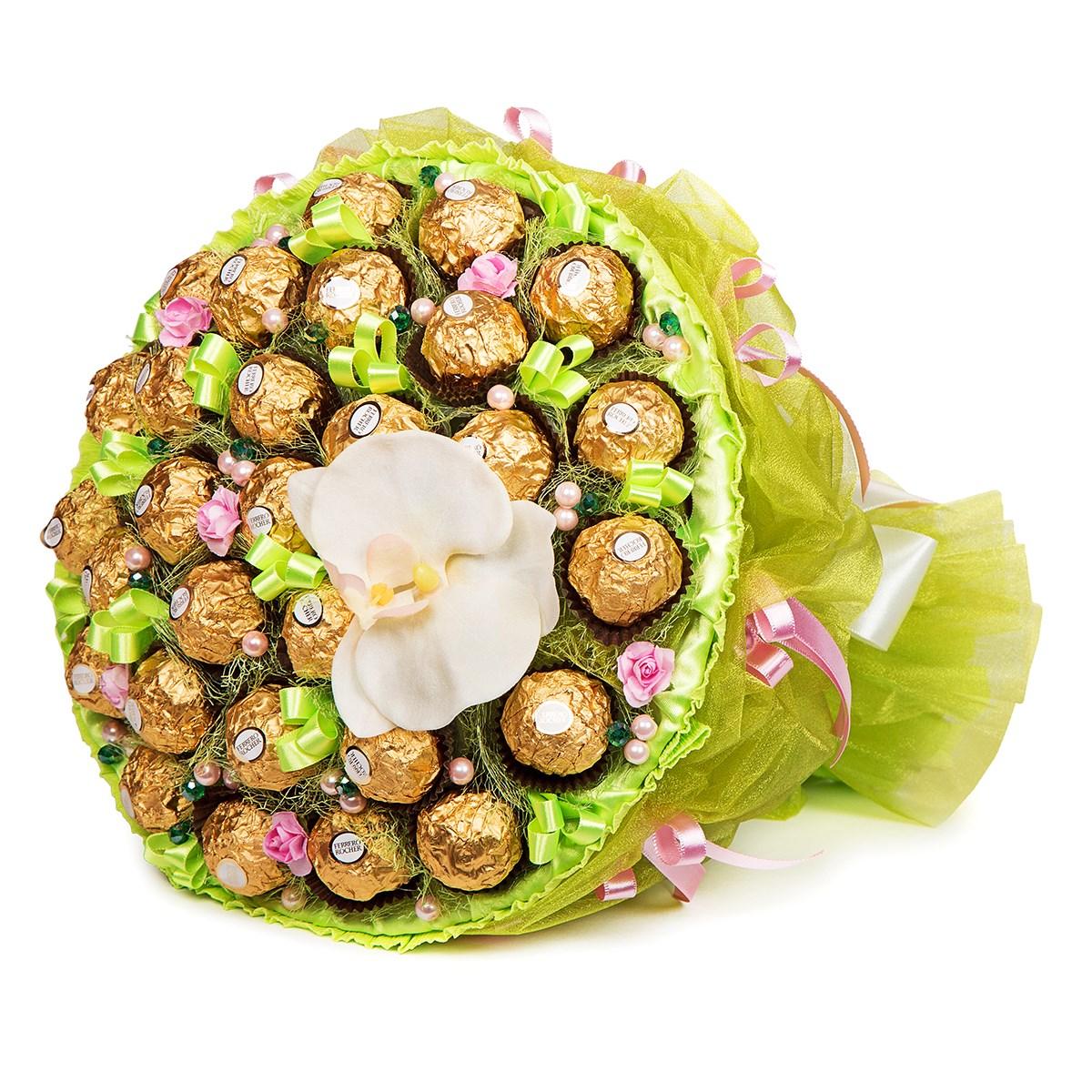 букеты из конфет орхидеи фото