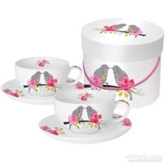 Набор чашек для капучино в подарочной коробке Love birds
