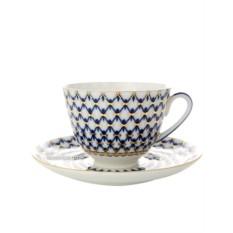 Фарфоровая чайная чашка с блюдцем Кобальтовая сетка