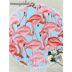 Круглое пляжное полотенце с бахромой Фламинго на прогулке