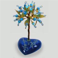 Дерево из голубого агата на сердечке с именной надписью