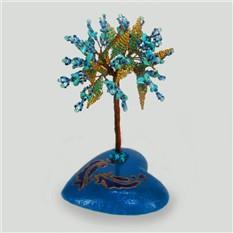 Дерево счастья из бирюзы на сфере, расписанной вручную