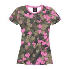 Женская футболка Камуфляж с сердечками