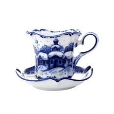 Чайная пара с художественной росписью Сюжет Гжель